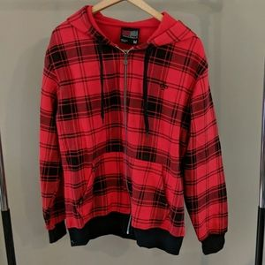 South Pole Zip Up Red Plaid Sweatshirt
